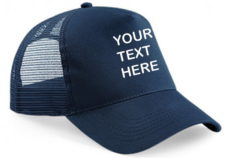 Navy cap with navy mesh and panel showing front  placement