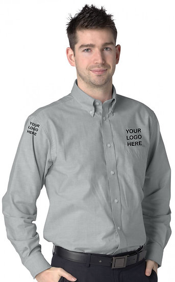 Silver Grey Long Sleeve Oxford Shirt showing left chest and right sleeve placement