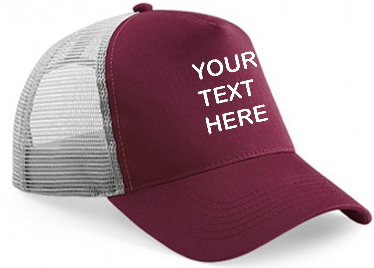 Burgundy cap with grey mesh and burgundy panel showing front placement