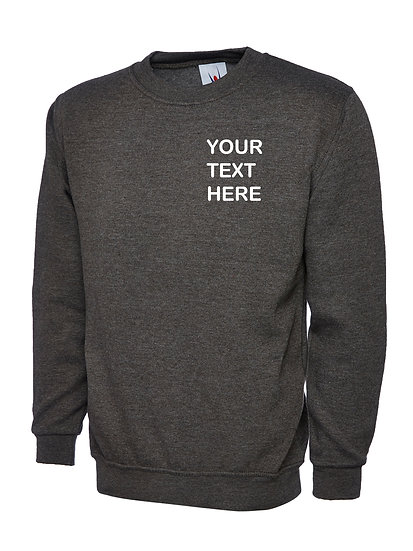 Charcoal Grey Sweatshirt showing left chest placement