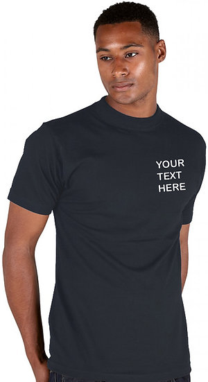 Navy Blue T-Shirt Ranks brand showing left chest placement