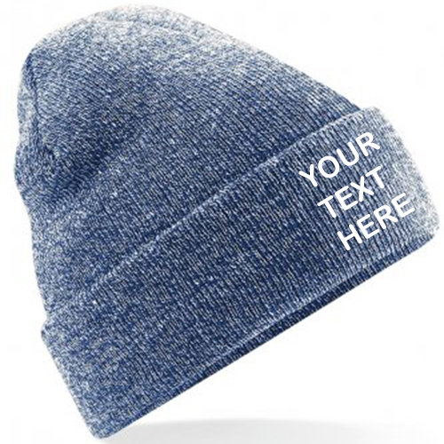 Heather Grey/Navy Blue Classic Beanie showing front placement