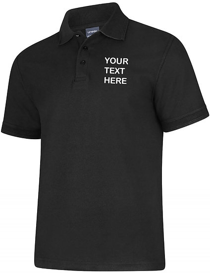 Black Polo Shirt showing left chest placement