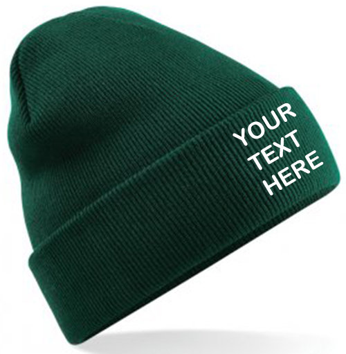Bottle Green Classic Beanie showing front placement