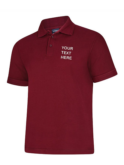 Maroon Polo Shirt showing left chest placement