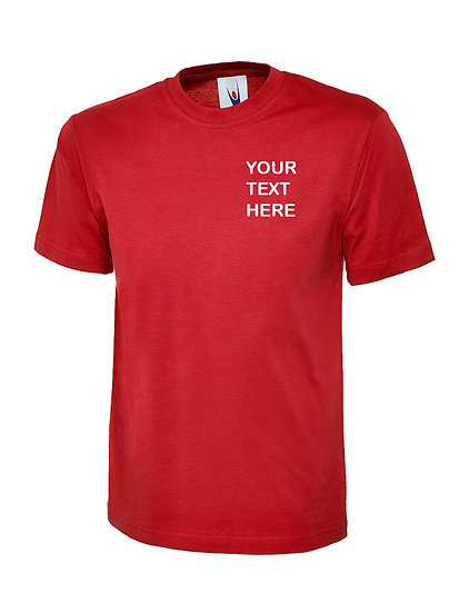 Red T-Shirt Uneek Brand showing left chest placement