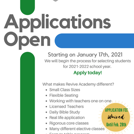 Revive Academy 2021-2022 School Year Applications are OPEN!