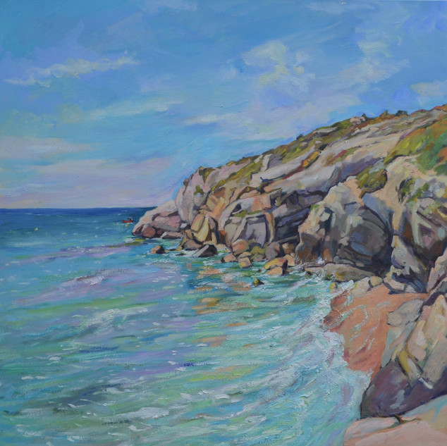sea and cliffs in spring, Sitges
