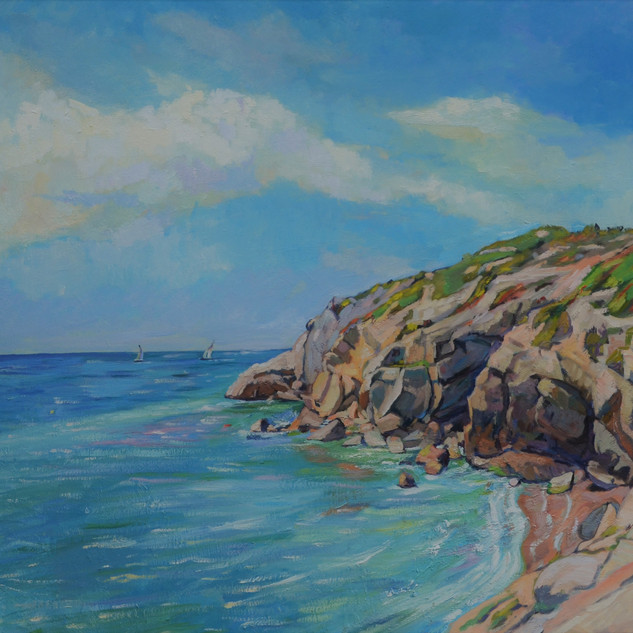 sea and cliffs in spring No 1, Sitges