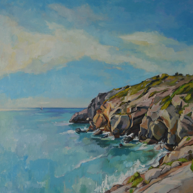 sea and cliffs in autumn, Sitges