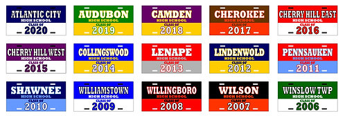 """""""CLASS OF"""" NEW JERSEY LICENSE PLATES"""
