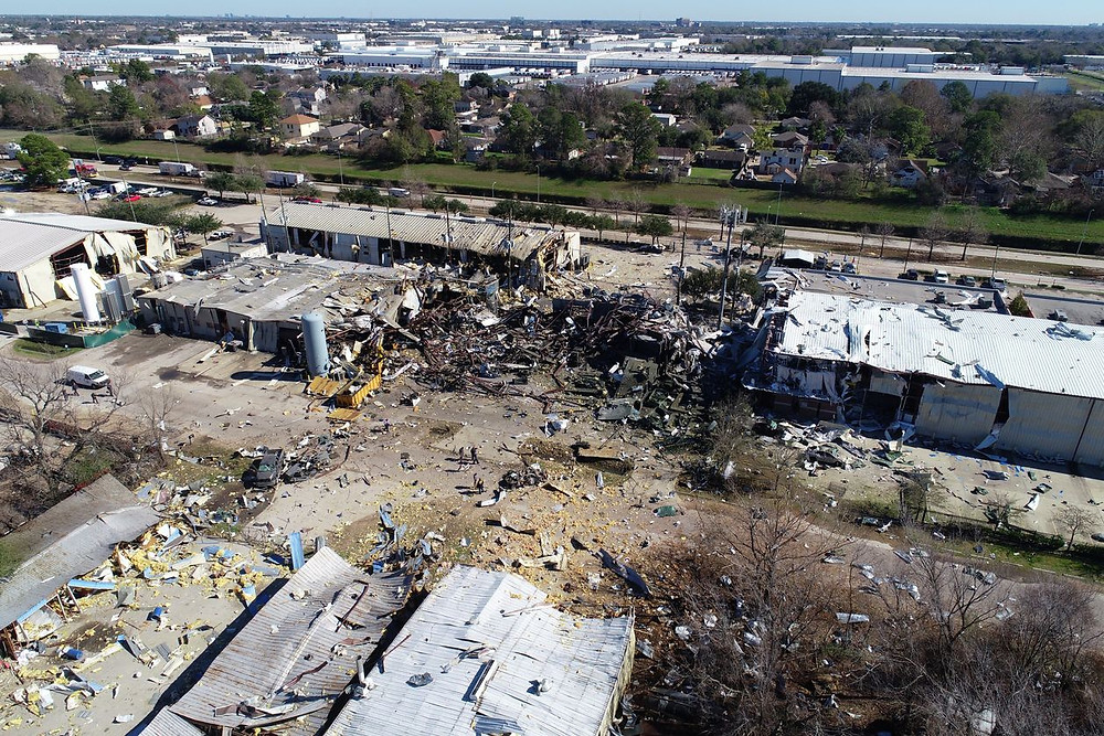 The explosion at Watson Grinding & Manufacturing in Houston leveled buildings, damaged hundreds of homes and shook the ground for miles. PHOTO: WSJ via DRONE BASE/REUTERS
