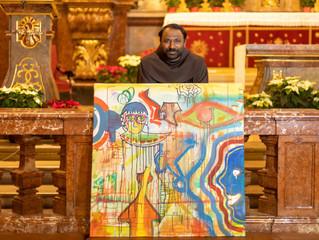 Bilder malender, rappender Franziskanermönch