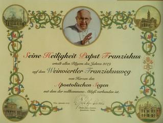 Päpstlicher Segen für Franziskusweg WV     + für Pilgerinnen u. Pilger