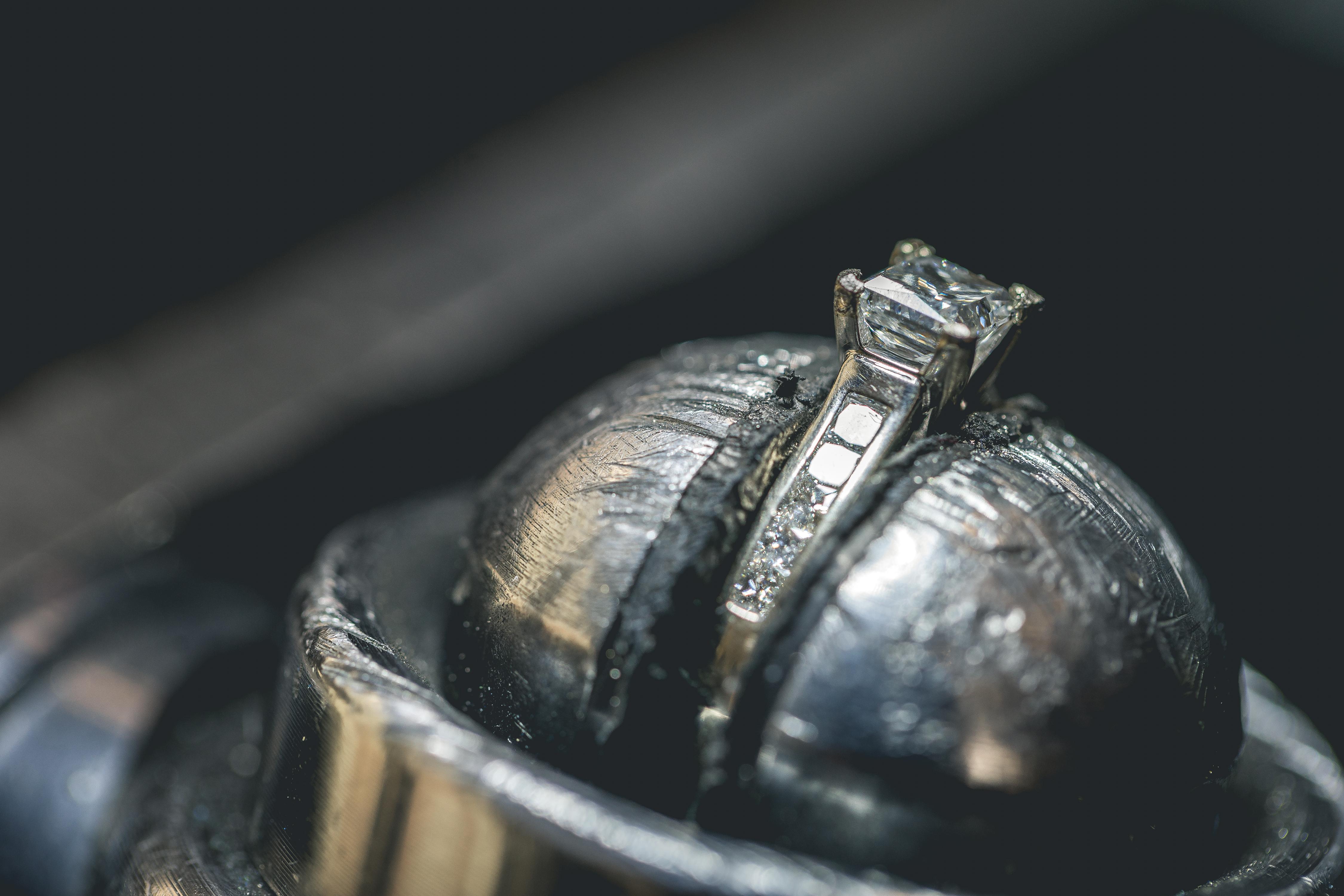 Precious diamond ring during repair and