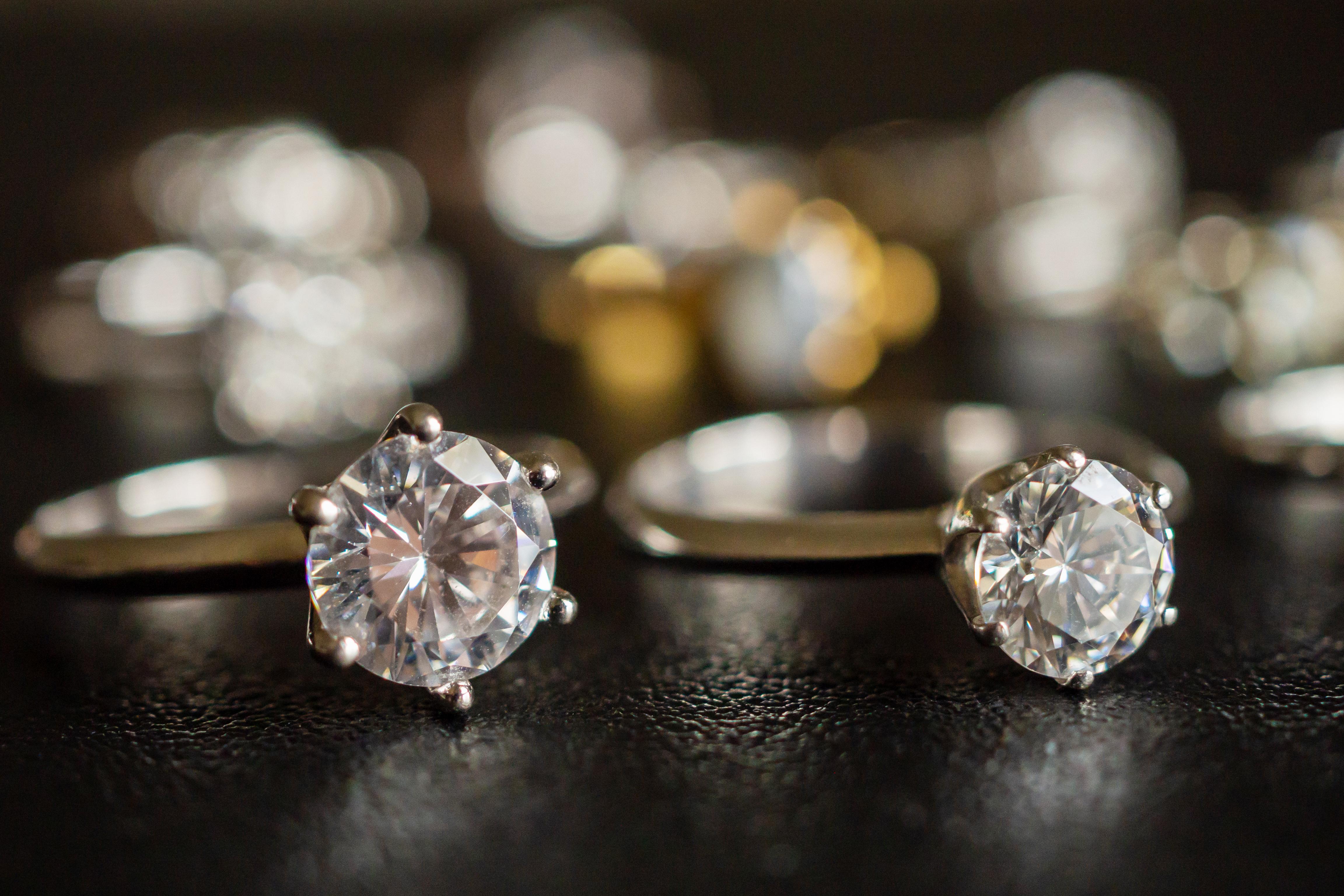 Jewelry diamond rings set on black backg