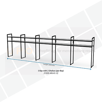 Chiller Wall Racking - 5 Bays, 2 Shelves (per bay)