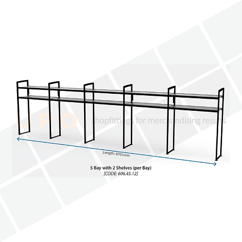 Chiller Wall Racking - 5 Bays, 2 Shelves (per bay)