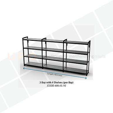 Chiller Wall Racking - 3 Bay, 4 Shelves (per bay)