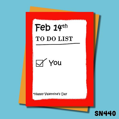 Rude to do list Valentine's Day card from Jolly Ginger Cards.