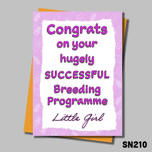 Congrats on your successful breeding programme - Pink card