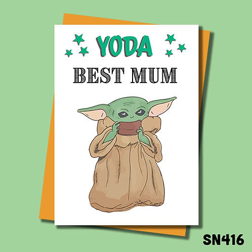 Yoda Best Mum Mother's Day Card from Jolly Ginger Cards.