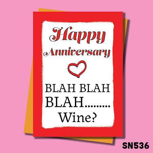 Blah, Blah wine anniversary card.