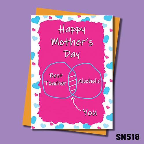 You're the best teacher/alcoholic Mother's Day card,