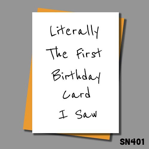 Funny Birthday card from Jolly Ginger Cards - Literally the first Birthday card I saw.
