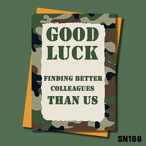Good luck military banter leaving card from Jolly Ginger Cards.