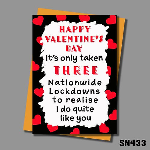 It's only taken 3 lockdowns to realise I do quite like you funny Valentine's Day card.