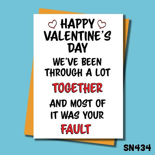 We've been through a lot funny valentines day card from Jolly Ginger Cards.