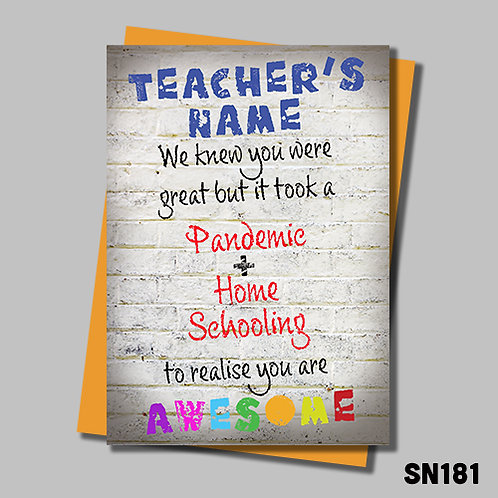 Personalise this card with your teacher's name