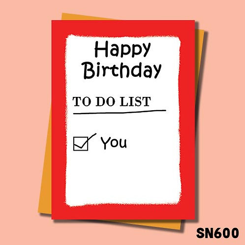 To do list rude birthday card.