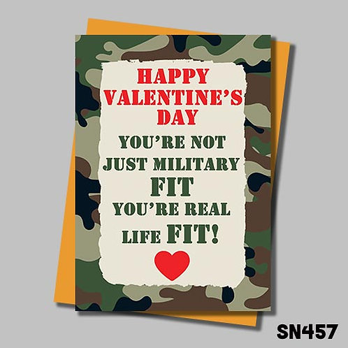 You're military fit Valentine's card from Jolly Ginger Cards.
