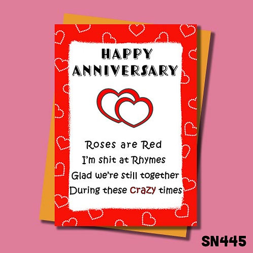 Crazy times anniversary card from Jolly Ginger Cards.