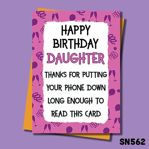 Thanks for putting your phone down long enough to read this card birthday card.