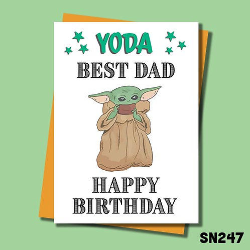 Yoda best Dad Birthday card from Jolly Ginger Cards.