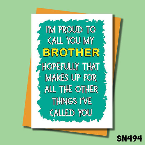 proud brother birthday card.