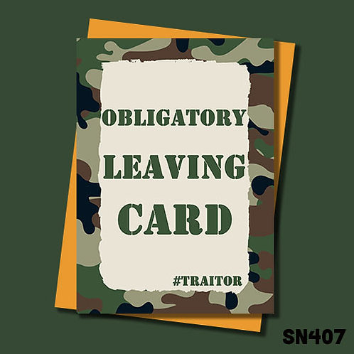 Obligatory leaving card - Military themed.