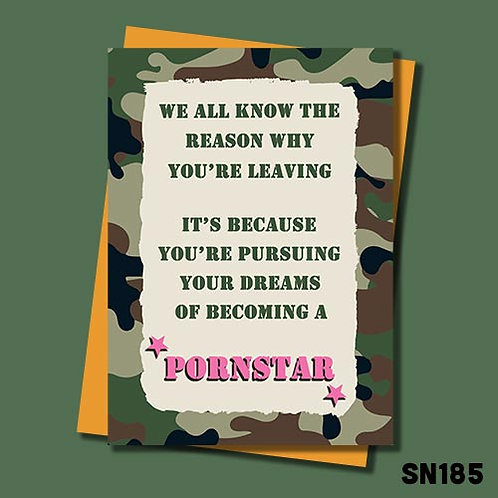 Becoming a pornstar military styled banter leaving card from Jolly Ginger Cards.