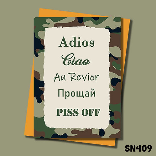 Adios, piss off Military themed leaving card from Jolly Ginger Cards.
