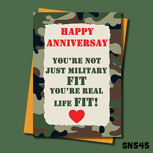 You're not just military fit you're real life fit anniversary card.