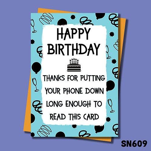 Put phone down birthday card