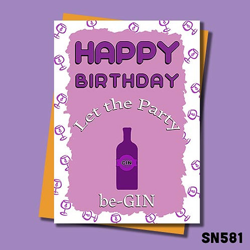 Let the party be gin birthday card.