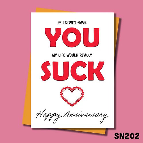 Life would suck anniversary card from Jolly Ginger Cards.
