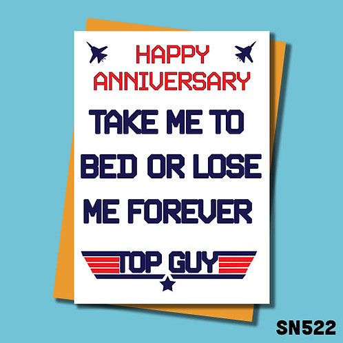 Take me to bed or lose me forever anniversary card.