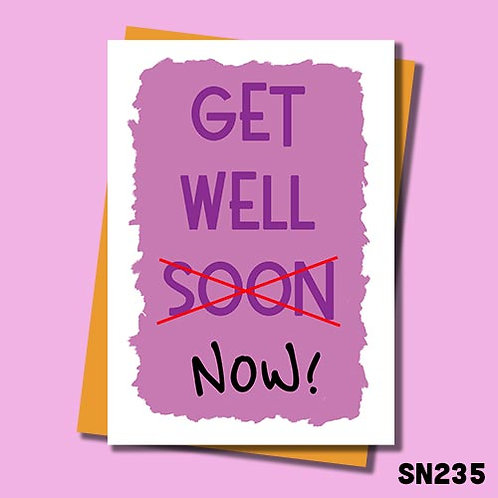 Purple get well now card from Jolly Ginger Cards.