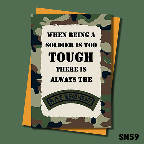 RAF Reg banter greetings card. When being a soldier is too tough there is always the RAF REG. SN59.