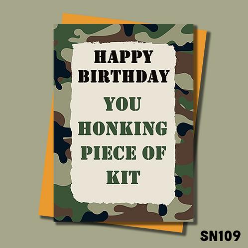 Royal Marine birthday card. Honking piece of kit. SN109.